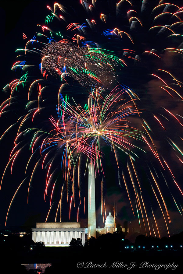 Vivid Forth of July Fireworks bursting over Monuments in Washington, DC