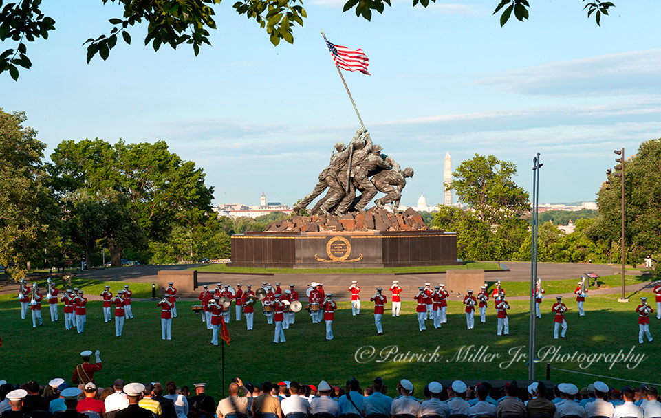 Marines Marching Band preforming at the Iwo Jima Memorial