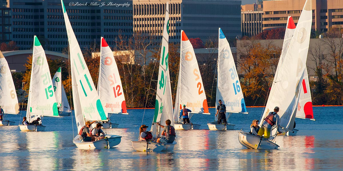 Georgetown University sail boats on the Potomac River, Pentagon City, VA, DC