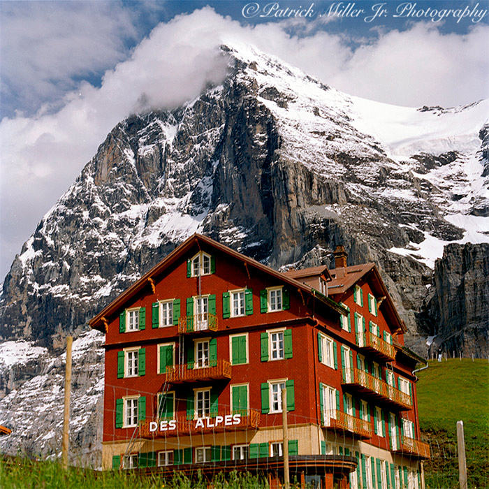 Hotel Des Alpes at the base of the famous Eiger Mountain face in the Swiss Alps of Switzerland