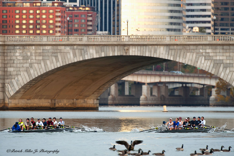 Crew teams rowing underneath Key Bridge Washington, DC and Rosslyn, VA