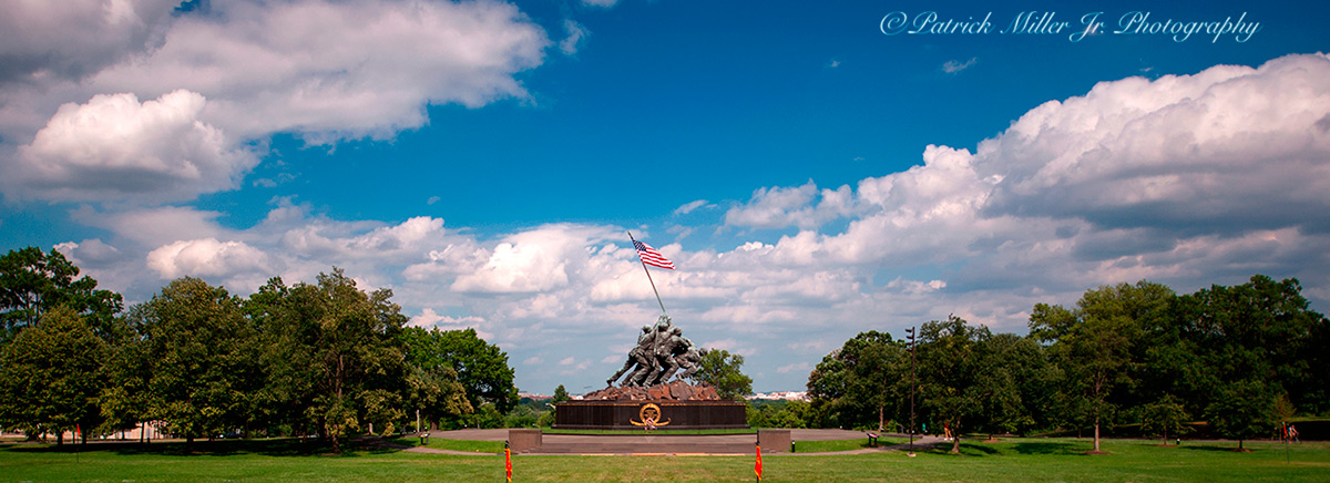 Iwo Jima US Marine Corps War Memorial panoramic on a sunny day in Arlington, VA