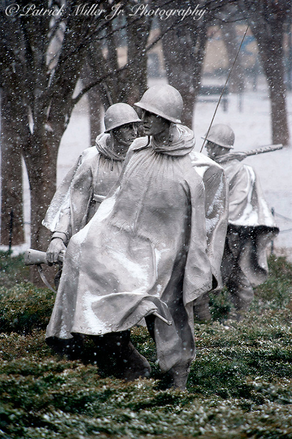 Korean War Veterans Memorial statues in the winter with snow Washington, DC