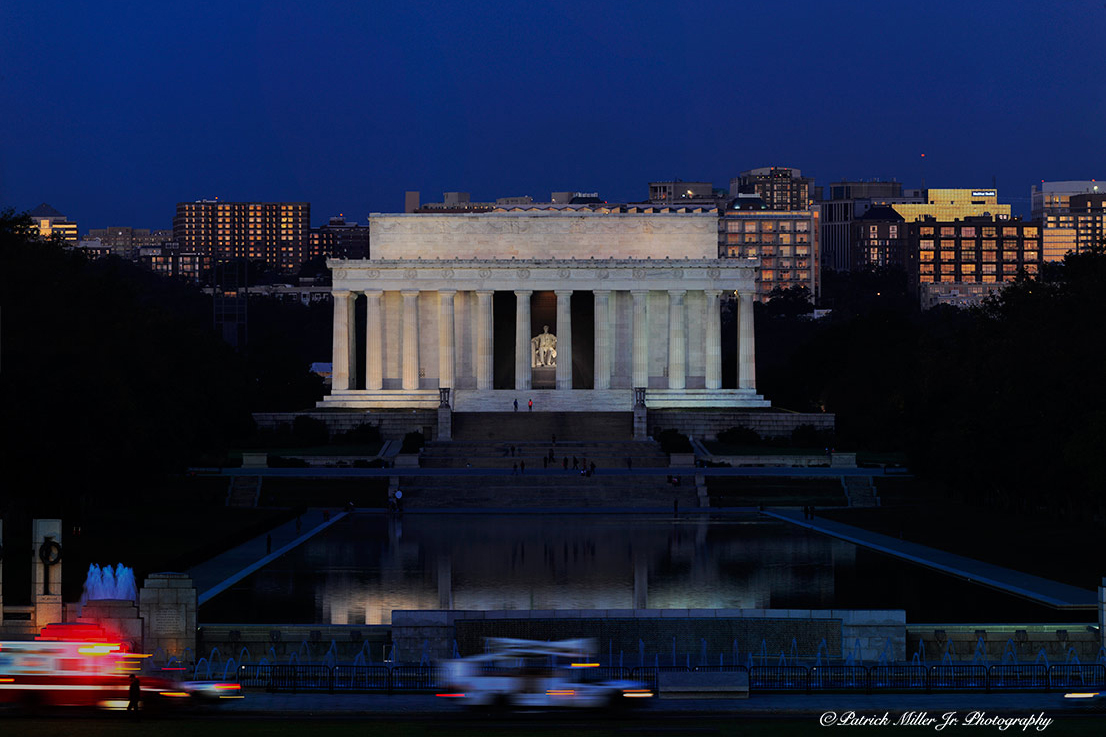 Lincoln Memorial and Lincoln Reflecting Pool at night in Washington, DC