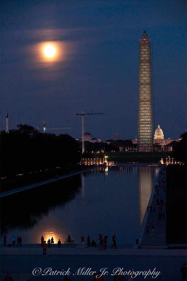 Lincoln Reflecting Pool with a full moon Washington DC