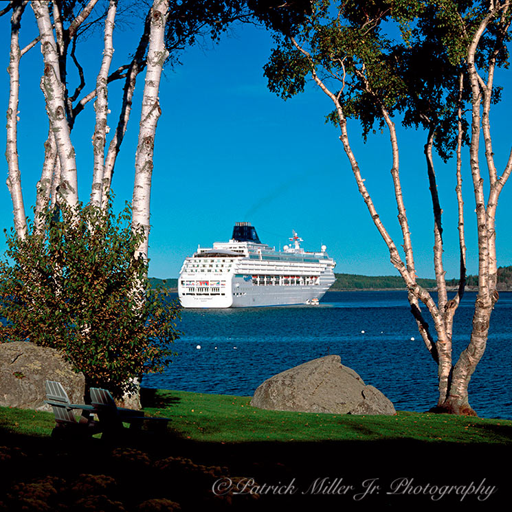 Ocean Liner mored in Bar Harbor Acadia National Park Maine