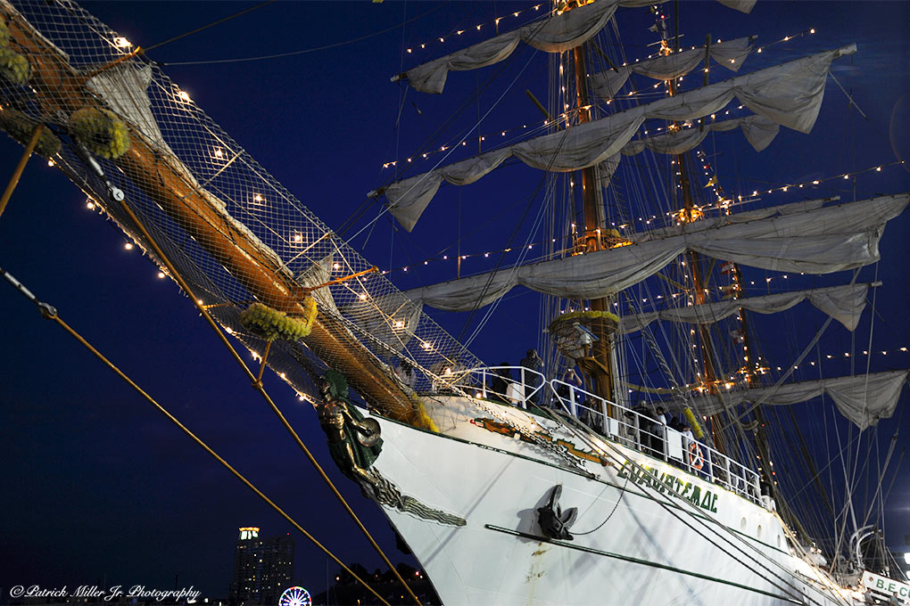 Schooner with lights at night in Baltimore Harbor