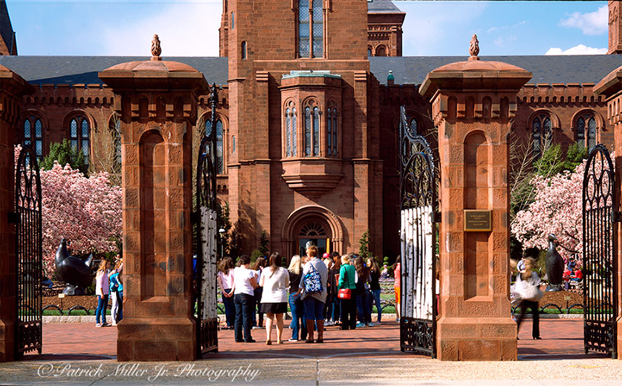 "Smithsonian Institution's Arts and Industries Building or ""Castle"" front gate In the spring Washington, DC."
