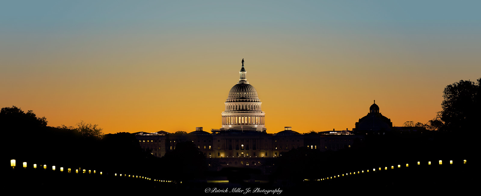 US Capitol Silhouette at sunrise Washington, DC
