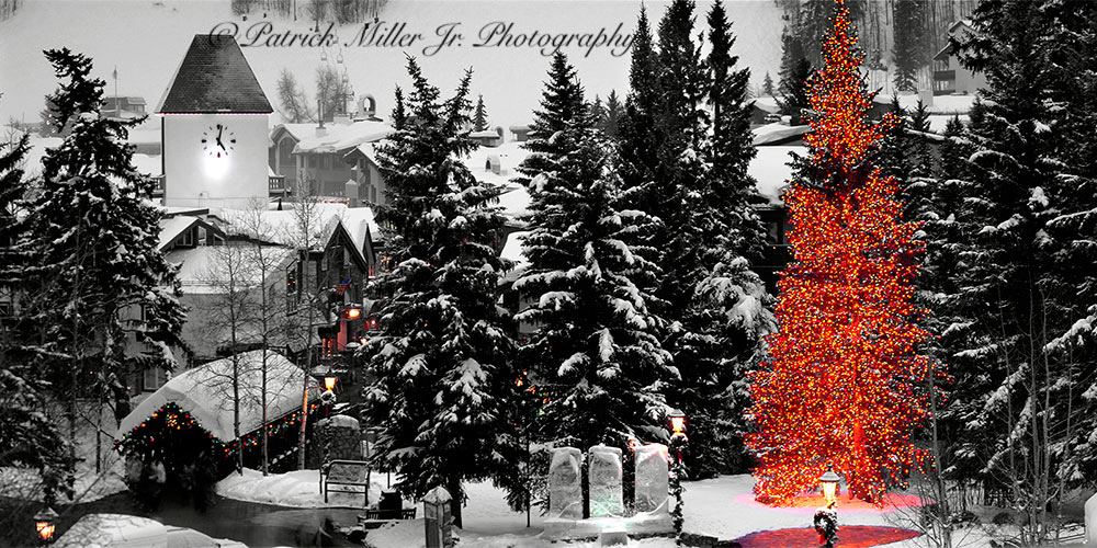 Downtown Vale Colorado skiing destination during the Christmas Holidays