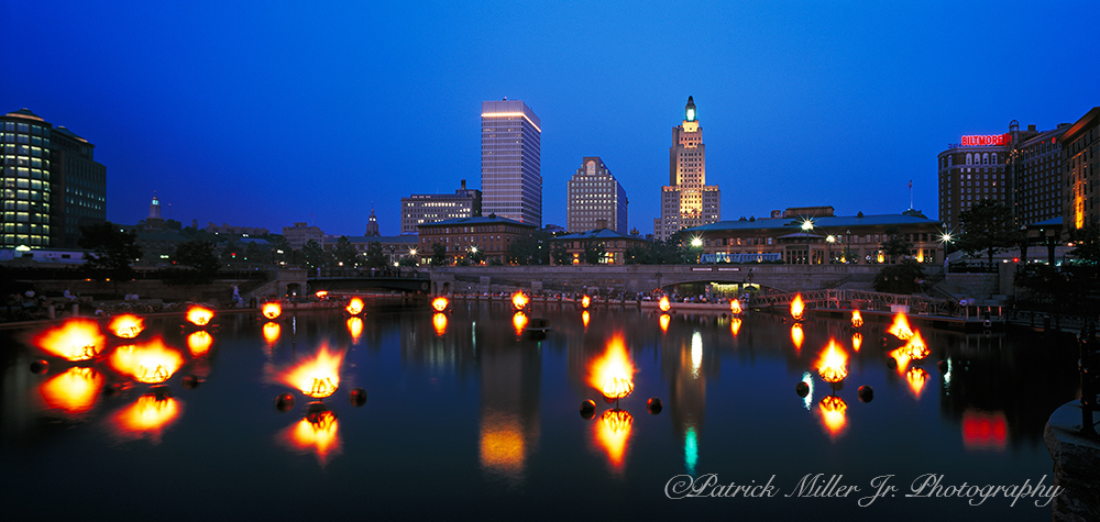 Water Fire at night in downtown Providence, Rhode Island