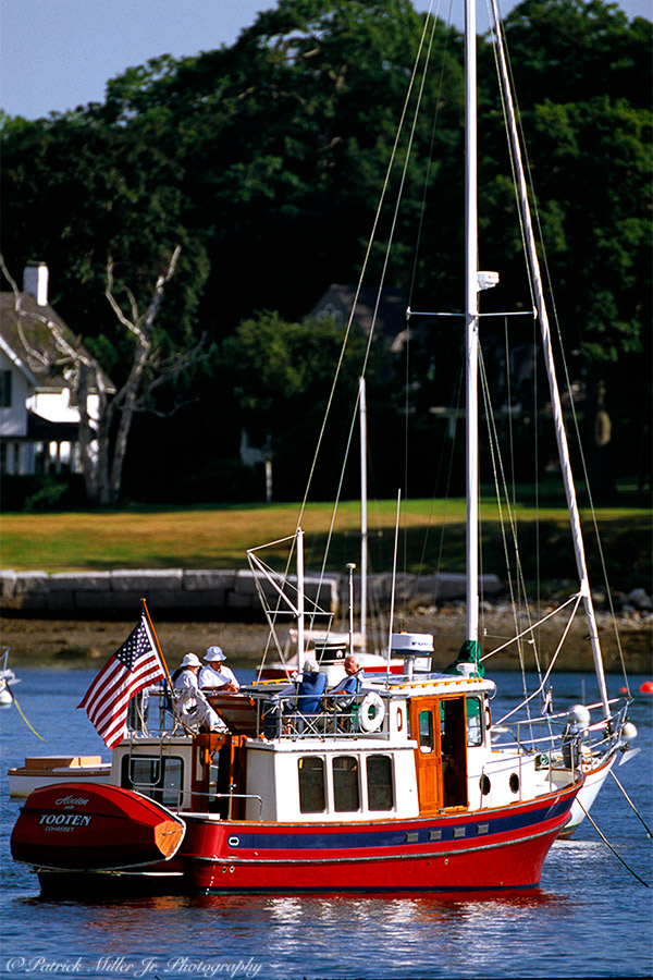 Unique Yacht with the American flag on the Forth of July in Maine