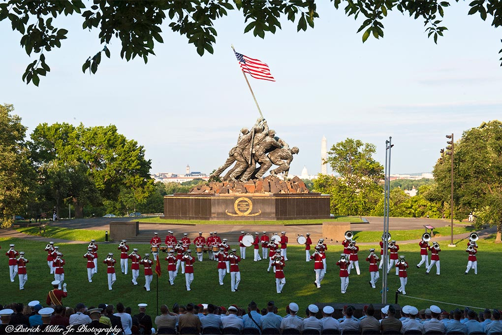 Marines Marching Band performance at the Jima Memorial in Arlington, VA