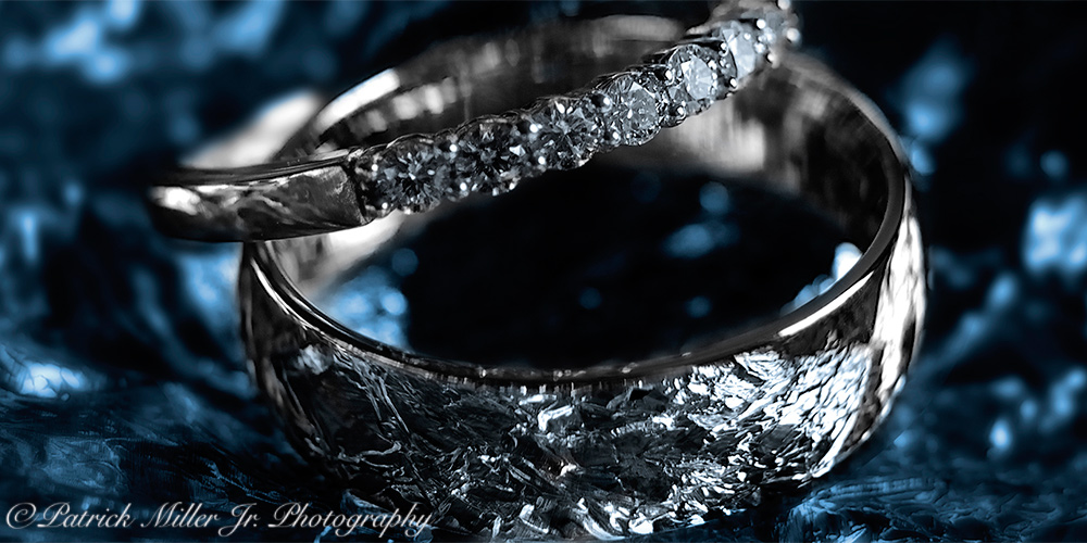 Product Photography Blue Wedding Rings Virginia