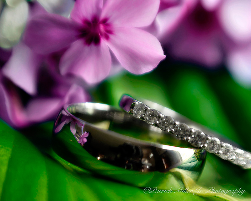 Product Photography Wedding Rings in Flowers, DC