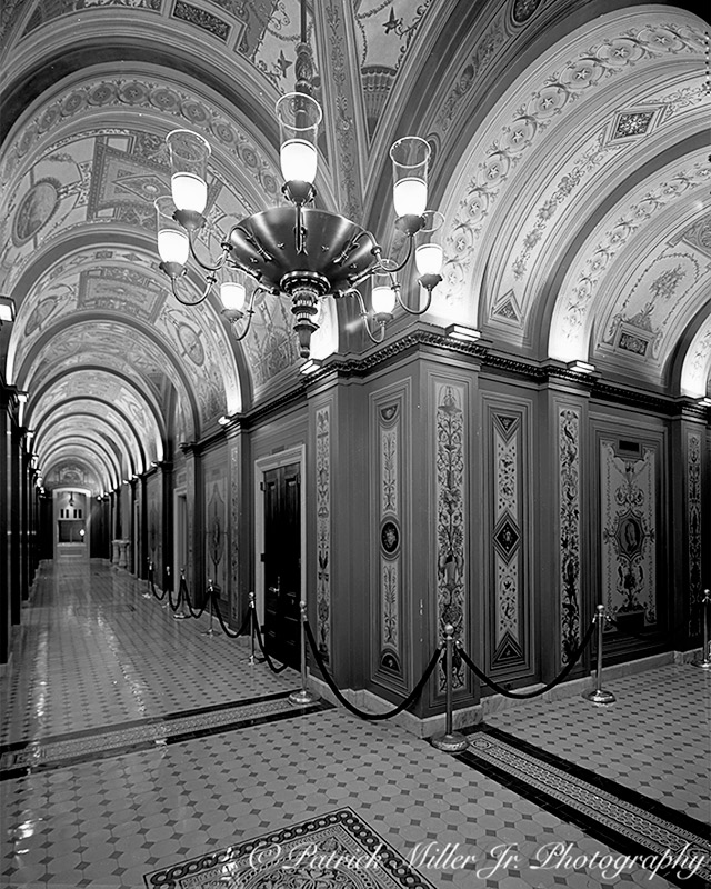 Vaulted, ornately decorated Brumide Corridors of the US Capitol In b/w Washington, DC