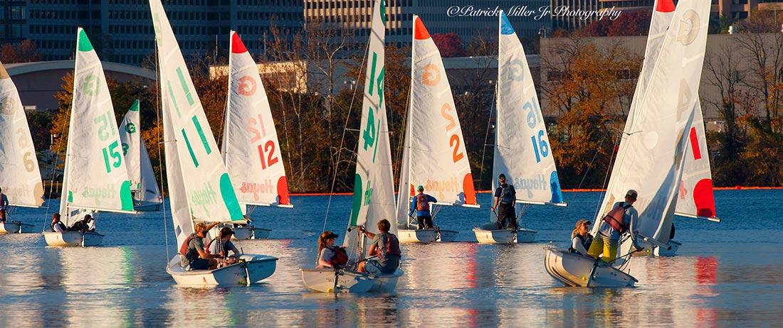 Georgetown University sail boats on the Potomac River, Pentagon City, VA, DC