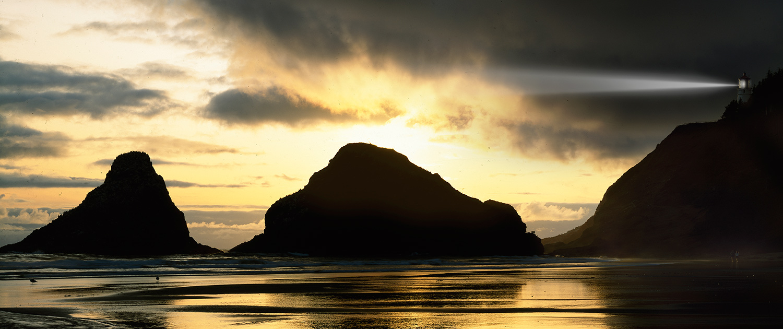 West Coast sunset at Heceta Head Lighthouse and rocky coastline Oregon