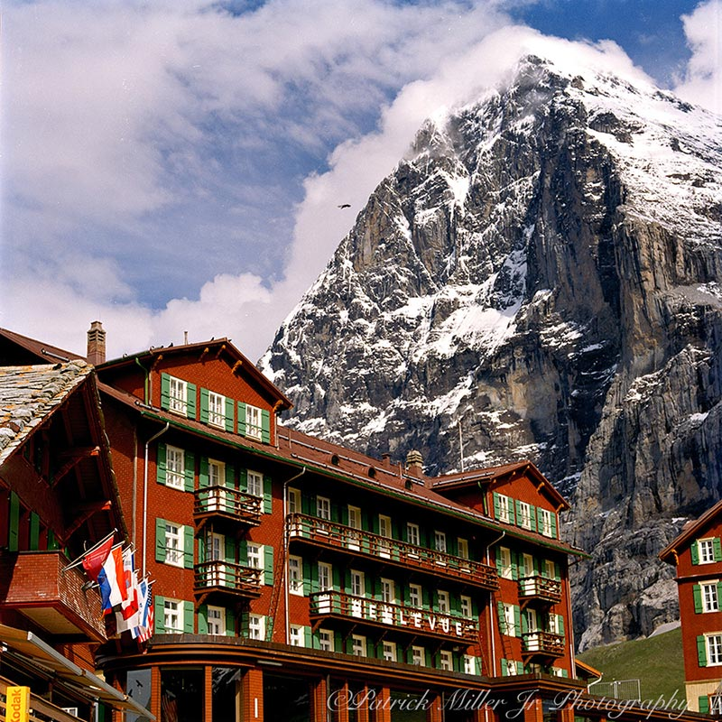 Hotel Des Alpes at the base of the famous Eiger Mountain Face in the Swiss Alps