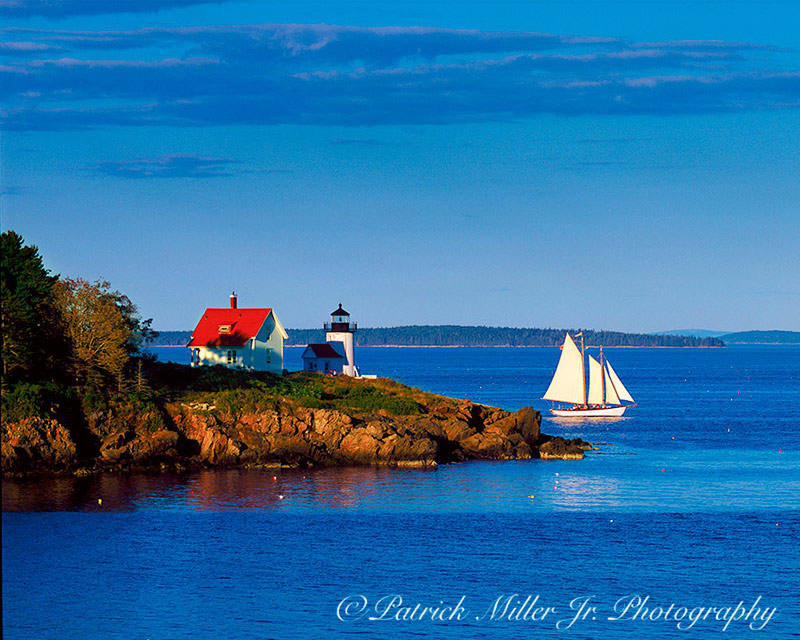 Schooner passing Curtis Island Lighthouse Camden, ME