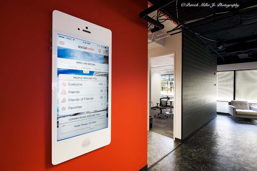Commercial Interior Architecture Social Radar Giant iPad Entrance, MD