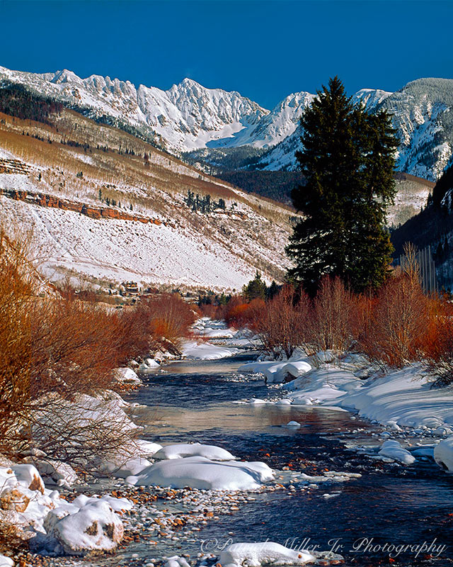 Winter Stream in the Rocky Mountains Vale, Colorado.
