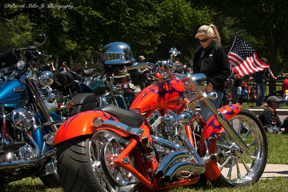 Rolling Thunder all American event with motorcycles on display in Washington DC