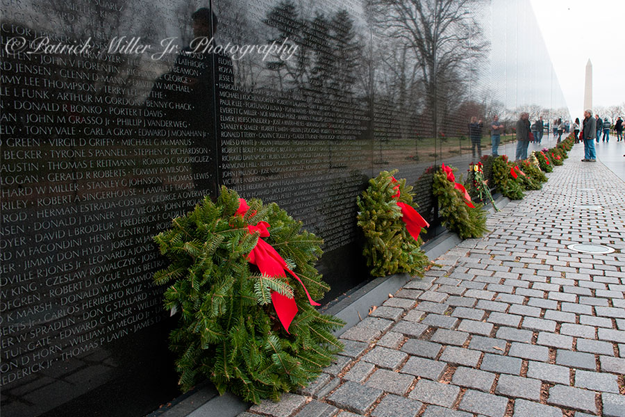 Vietnam Veterans Memorial Wall with Christmas wreaths Washington DC