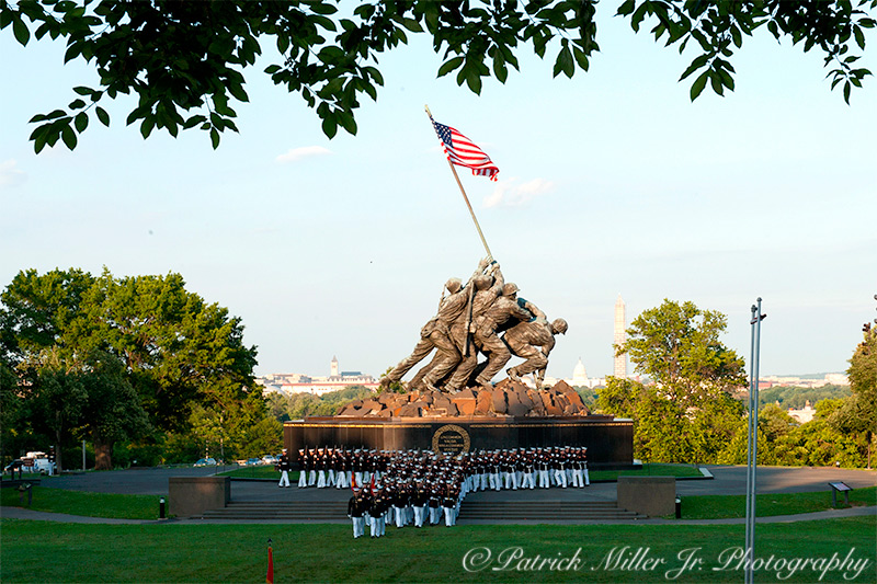 Marines Honor Guard performing at the Jima Memorial in Arlington, VA