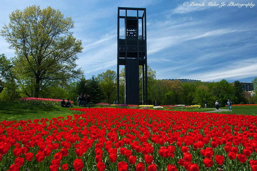 Netherlands Carillon (Bell Tower) with flower gardens in Arlington, VA