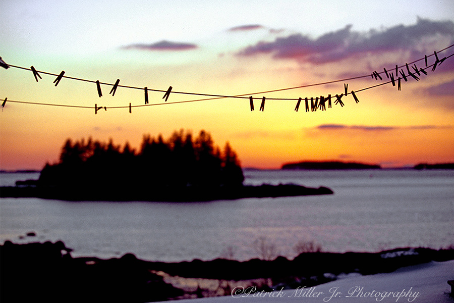 Winter clothesline at sunrise in Maine