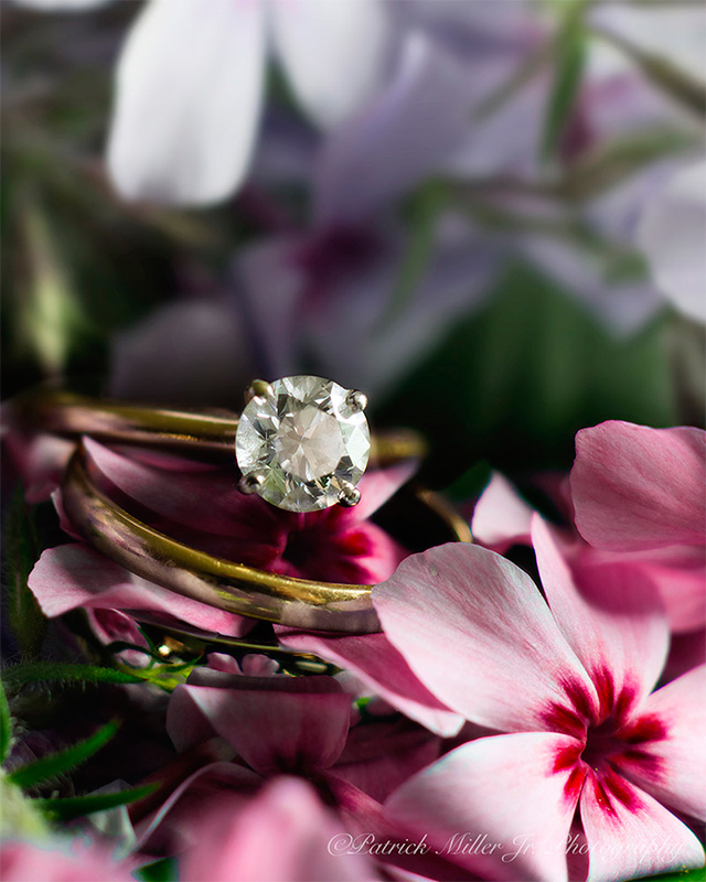 Product Photography Diamond Wedding Ring Flowers