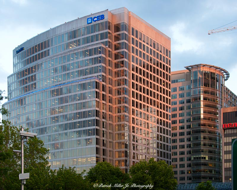 Sun setting on Rosslyn glass sky scrapers, CEB Virginia