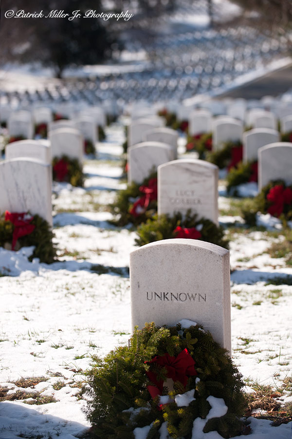 Arlington Cemetery Unknown Soldier In Winter with Wreaths, VA